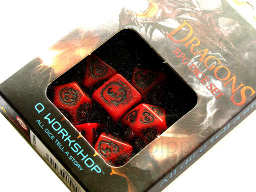 Q-Workshop Dragons Dice Set Red with Black Etches (7 Piece Set)