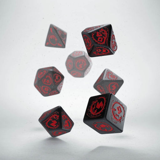 Q-Workshop Dragons Dice Set Black with Red Etches (7 Piece Set)