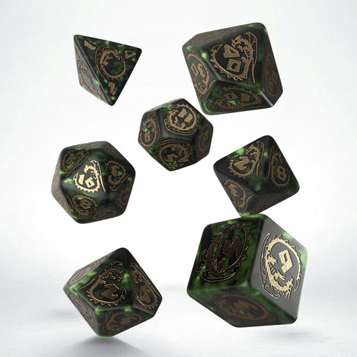 Q-Workshop Dragons Dice Set - Green with Gold Etches (7 Piece Set)