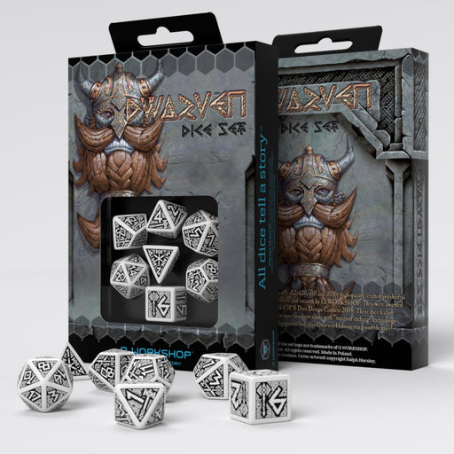 Q-Workshop Dwarven Dice Set White with Black Etches (7 Piece Set)
