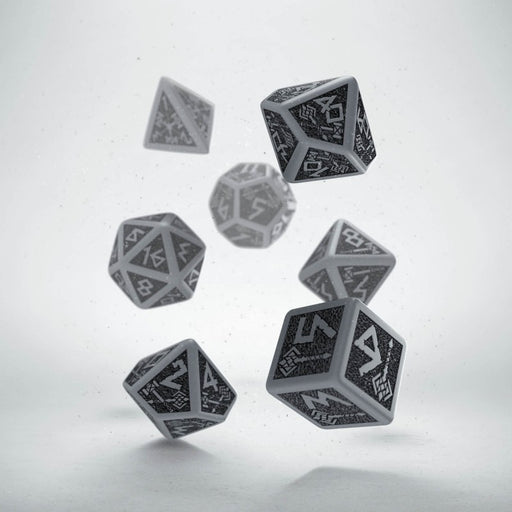 Q-Workshop Dwarven Dice Set Gray with Black Etches (7 Piece Set)