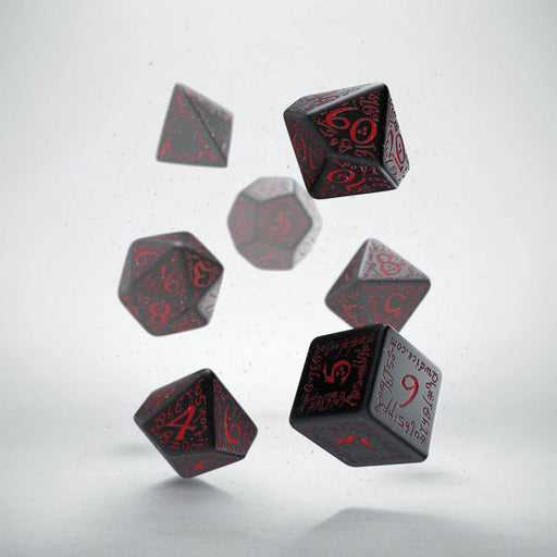 Q-Workshop Elvish Dice Set Black with Red Etches (7 Piece Set)