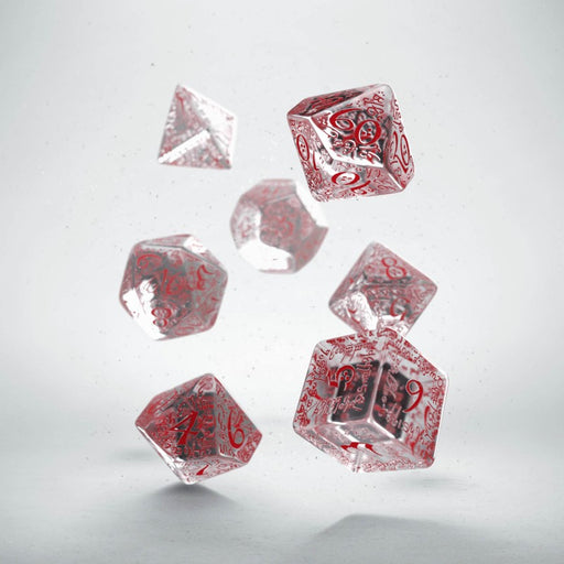 Q-Workshop Elvish Dice Set Transparent/Red (7 Piece Set)