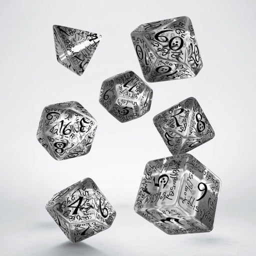 Q-Workshop Elvish Dice Set Translucent with Black Numbers (7 Piece Set)