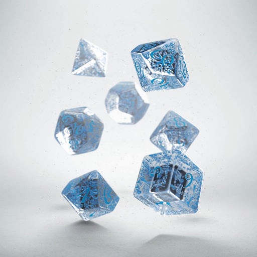 Q-Workshop Elvish Dice Set Transparent/Blue (7 Piece Set)