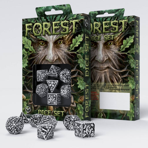 Q-Workshop Forest Dice Set 3D White with Black Etches (7 Piece Set)