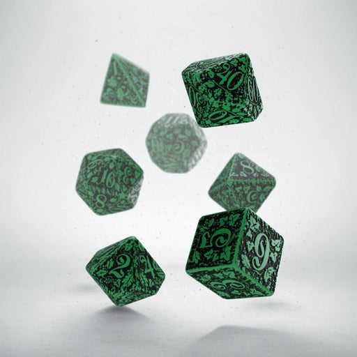 Q-Workshop Forest Dice Set 3D Green with Black Etches (7 Piece Set)