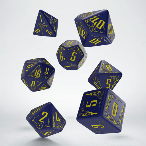 Q-Workshop Galactic Dice Set: Navy Blue with Yellow (7 Polyhedral Dice)