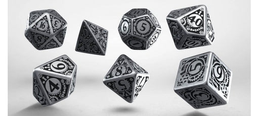Q-Workshop Metal Dice Set, 7 Polyhedral Dice - Steampunk
