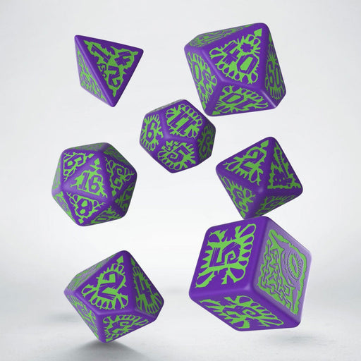 Q-Workshop Pathfinder Goblin Purple with Green Etches Dice Set (7 Piece Set)