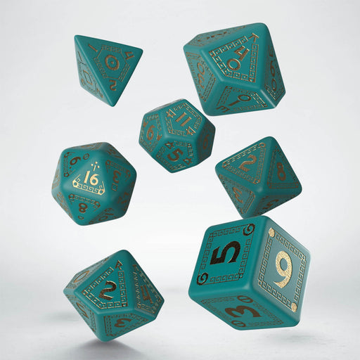 Q-Workshop RuneQuest Dice Set Turquoise with Gold (7 Pieces)