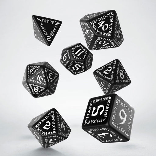 Q-Workshop Runic Dice Set Black with White Etches (7 Pieces Set)