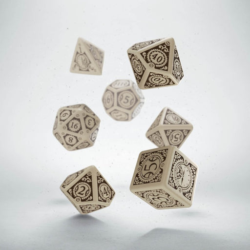 Q-Workshop Steampunk Clockwork Dice Set Beige with Brown Etches (7 Piece Set)