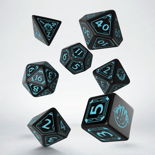 Q-Workshop Starfinder Dice Set Black with Teal Etches (7 Piece Set)