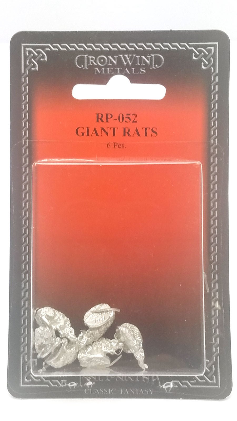 6 Pieces #RP-052 Unpainted Metal Miniature Rodent Minis Ral Partha Giant Rats