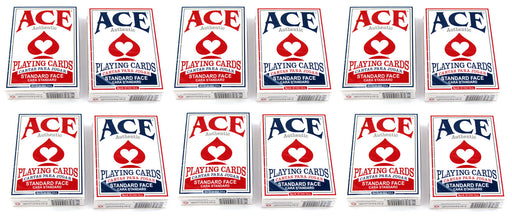 Ace Standard Size Playing Cards with Standard Faces - 6 Red Decks, 6 Blue Decks