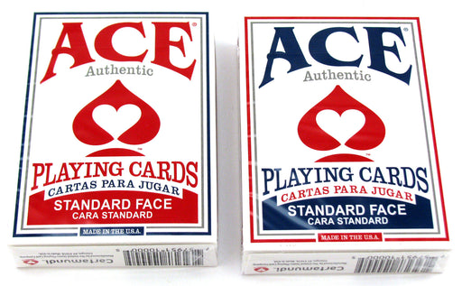 Ace Standard Size Playing Cards with Standard Faces - 1 Red Deck and 1 Blue Deck