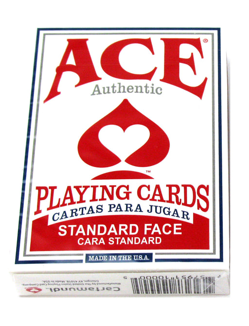 Ace Standard Size Playing Cards with Standard Faces - 1 Red Deck