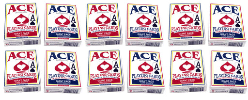 Ace Standard Size Playing Cards with Giant Faces - 6 Red Decks, 6 Blue Decks