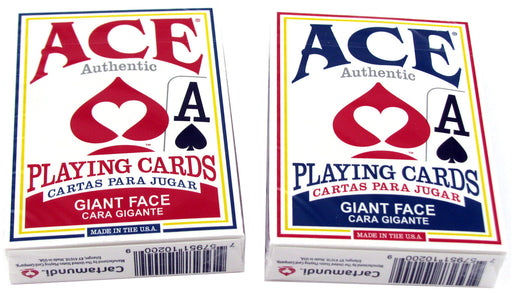 Ace Standard Size Playing Cards with Giant Faces - 1 Red Deck and 1 Blue Deck