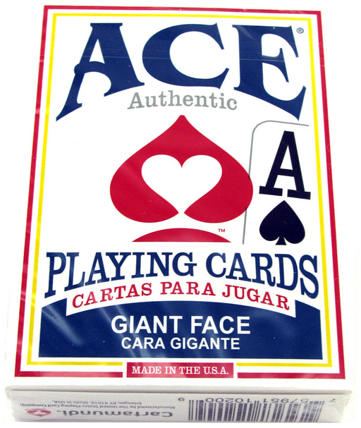 Ace Standard Size Playing Cards with Giant Faces - 1 Blue Deck