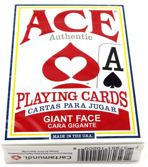 Ace Standard Size Playing Cards with Giant Faces - 1 Red Deck