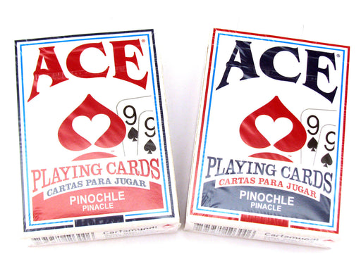 Ace Standard Size Pinochle Playing Cards - 1  Red Deck and 1 Blue Deck