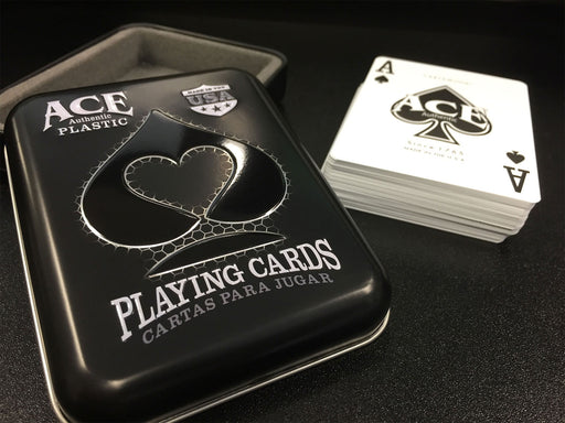 Ace 100% Plastic Casino Cards in Tin Metal Case - Black Deck