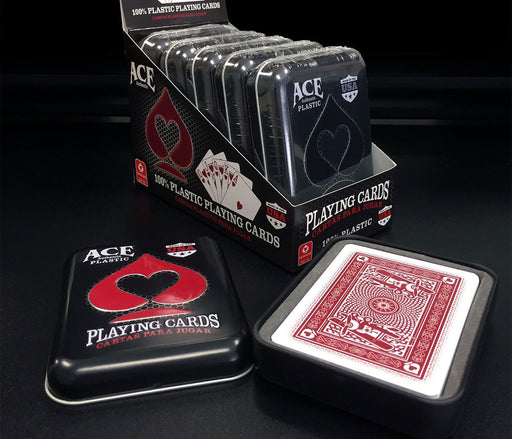 Ace 100% Plastic Casino Cards in Tin Metal Case - Red Deck