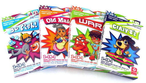 Kids 4 Pack Educational Card Games - Old Maid, Go Fish, War, Crazy 8's, Memory