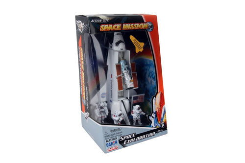 Space Exploration 4 Piece Play Set with Space Shuttle, 3 Figures, and a Flag