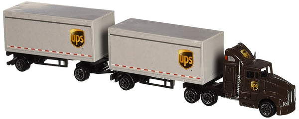 "Die-Cast with Plastic Parts 8"" UPS Tractor Semi Truck With 2 Trailers"