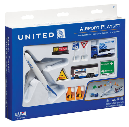 Daron 12 Piece United Airlines Playset Toy Model Figures
