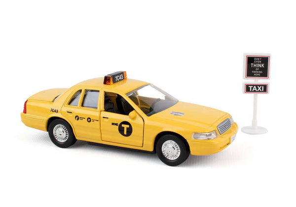 "Daron 5"" Diecast New York City NYC Taxi Cab Car and Sign Set"