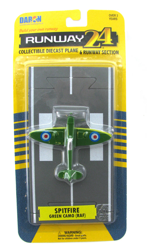 Daron Runway24 Diecast Metal Toy with Runway Section - Spitfire Green Camoflage