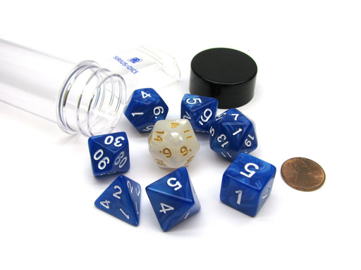 Tube of 7 Polyhedral RPG Sirius Dice with Bonus D20 - Pearl Blue Acrylic