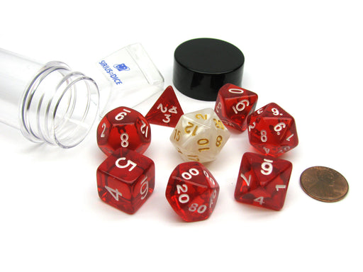 Tube of 7 Polyhedral RPG Sirius Dice with Bonus D20 - Translucent Red Resin