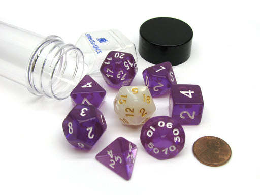 Tube of 7 Polyhedral RPG Sirius Dice with Bonus D20 - Translucent Purple Resin