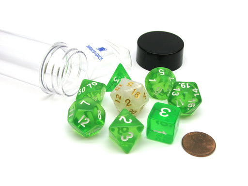 Tube of 7 Polyhedral RPG Sirius Dice with Bonus D20 - Translucent Green Resin