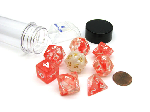 Tube of 7 Polyhedral RPG Sirius Dice with Bonus D20- Red Cloud Transparent Resin