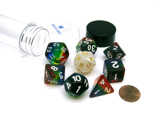 Tube of 7 Polyhedral RPG Sirius Dice with Bonus D20 - Rainbow Translucent Resin