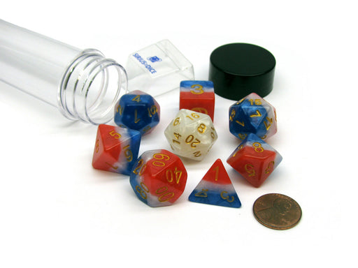 Tube of 7 Sirius Dice + Bonus D20 - Red, White, and Blue Semi-Transparent Resin