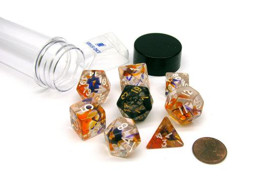 Tube of 7 Polyhedral RPG Sirius Dice with Bonus D20 - Purple, Orange Clear