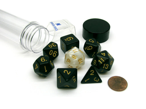 Tube of 7 Polyhedral RPG Sirius Dice with Bonus D20 - Solid Black, Gold Ink