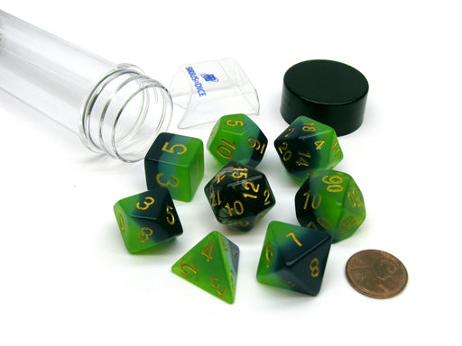 Tube of 7 Polyhedral RPG Sirius Dice with Bonus D20 - Green, Blue Translucent