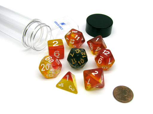 Tube of 7 Polyhedral RPG Sirius Dice with Bonus D20 - Yellow, Red Translucent