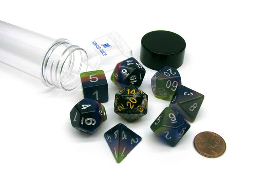 Tube of 7 Polyhedral RPG Sirius Dice with Bonus D20 - Pink, Green, Blue