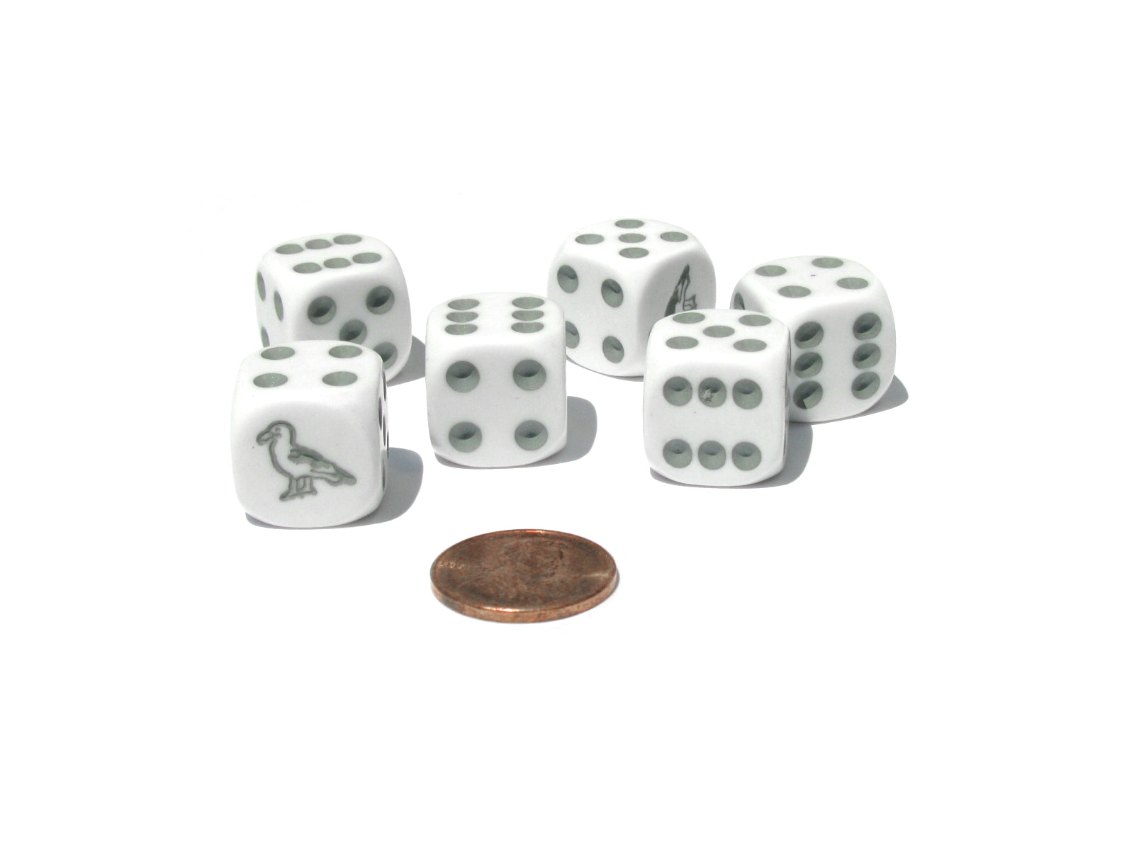 Set of 6 Seagull 16mm D6 Round Edged Koplow Animal Dice - White with Gray Pips