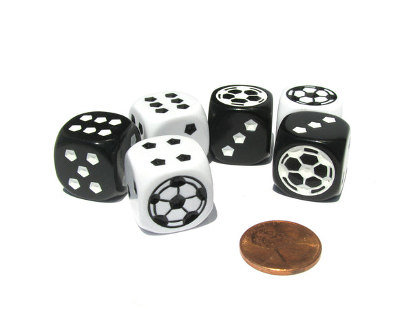 Set of 6 Soccer 18mm D6 Rounded Edges Sports Dice - Inverse Black and White