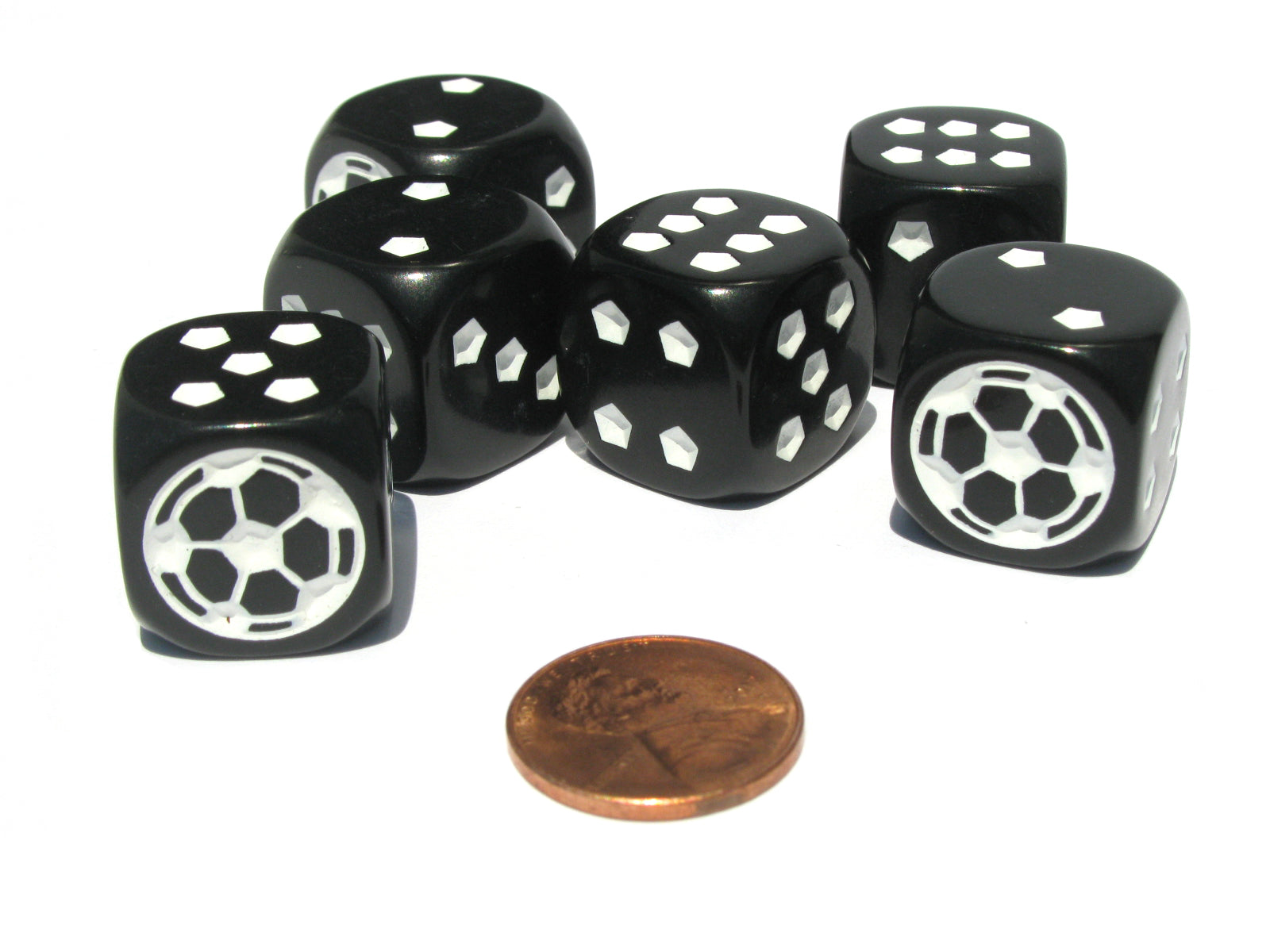 Set of 6 Soccer 18mm D6 Rounded Edges Sports Dice - Black with White Pips